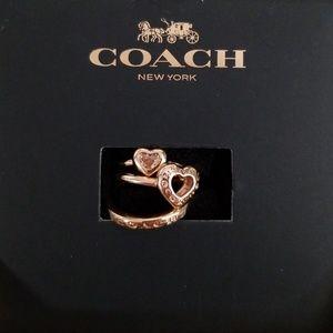 Coach Open Circle Heart Ring Set Size 6